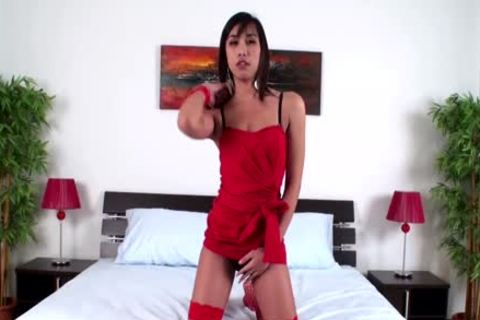 Short Hair Femboy In Red nylons Fondles penis And teats