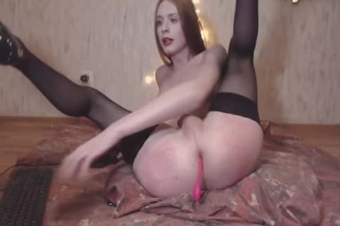 Skinny Russian Redhead tranny In black nylons Plays With Her ramrod And darksome hole